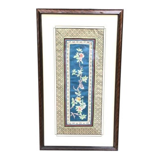 Chinese Silk Textile Art, Framed For Sale
