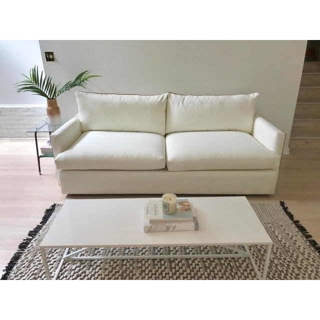 Contemporary Italian Camel Leather Piped Sofa For Sale - Image 3 of 6