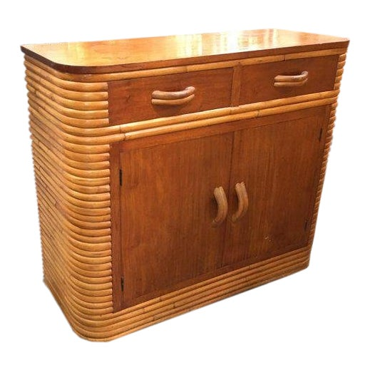 Restored Stacked Rattan Storage Cabinet With Mahogany Top For Sale
