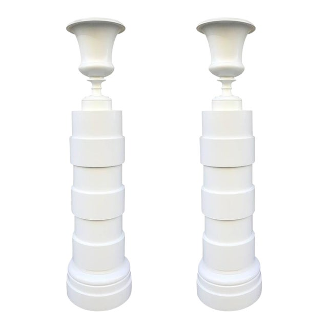 Pair of Urn and Columned Torchieres For Sale