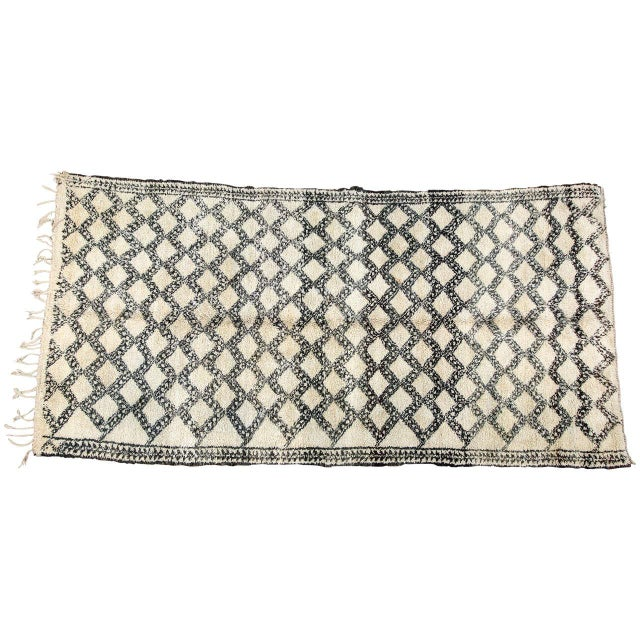 Vintage Moroccan Beni Ouarain Shaggy Tribal Rug North Africa For Sale - Image 9 of 9