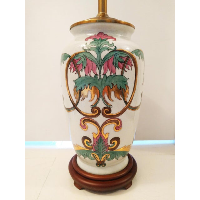 Vintage Crackle Glazed Chinoiserie Table Lamp - Image 3 of 4
