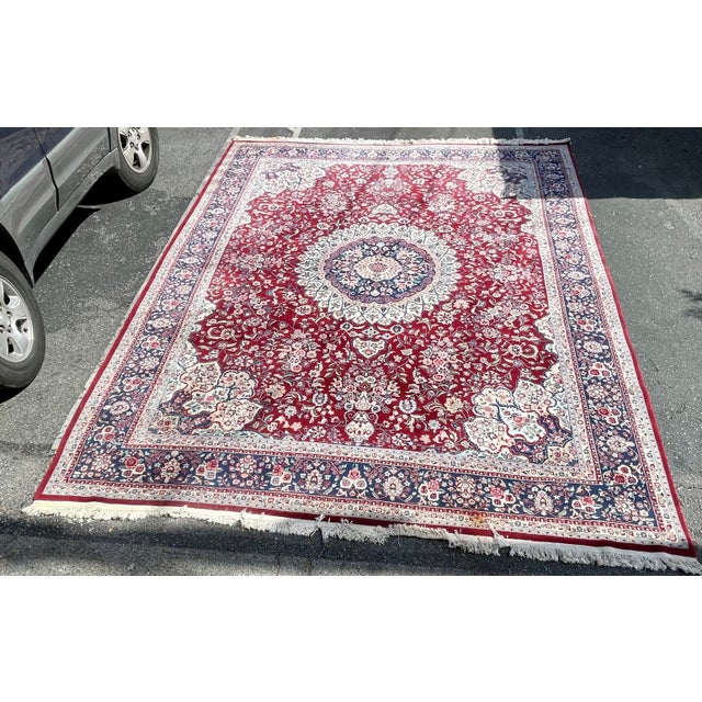 Red 1990s Huge 12 by 16 Vintage Hand Made Persian Wool Rug For Sale - Image 8 of 8