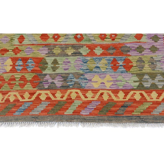 Arya Curt Green/Gold Wool Kilim Rug - 4'11 X 6'7 For Sale - Image 5 of 7