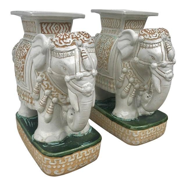 Vintage White Ceramic Elephant Garden Stools - A Pair For Sale