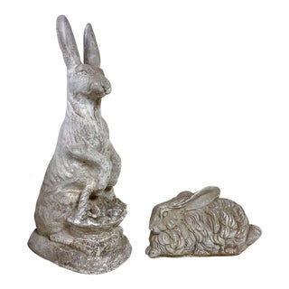 Set of Two Concrete Rabbits For Sale