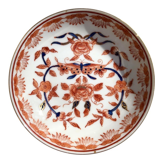 Mid-20th Century Ritz Carlton Imari Coral Butterfly and Gold Accented Bowl For Sale