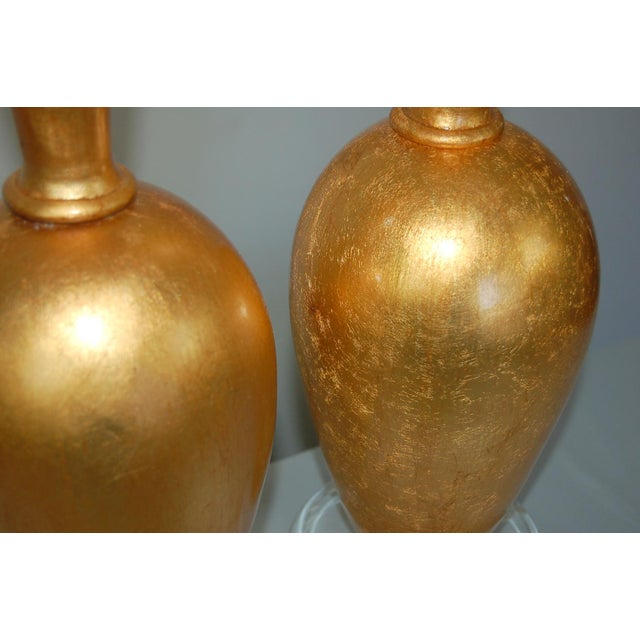 The Gold Leaf Plaster Table Lamps by Swank Lighting For Sale - Image 10 of 11