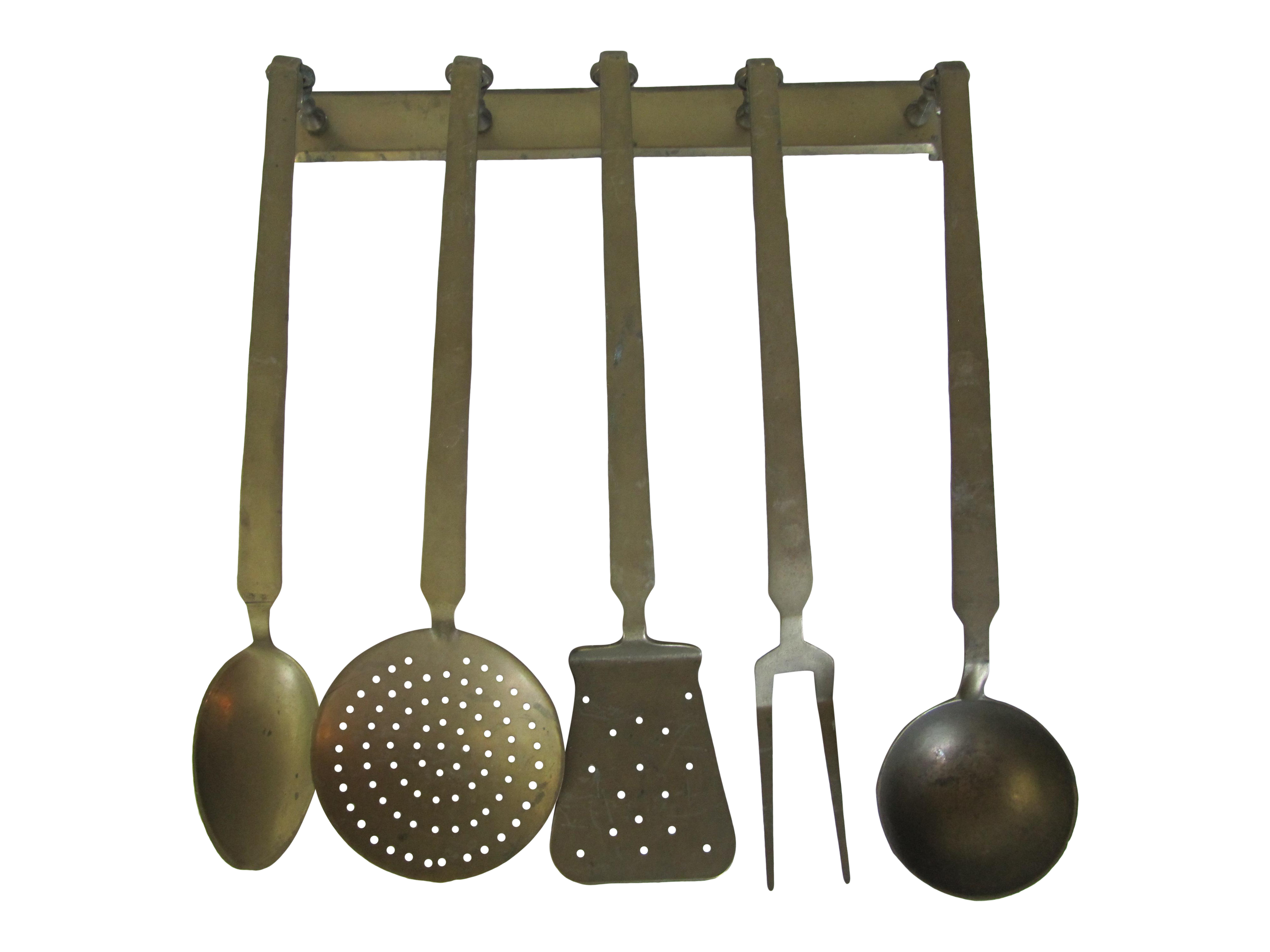 Vintage Hanging Brass Utensils   Set Of 5