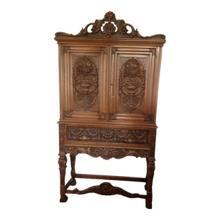 Carved Walnut Cabinet in Jacobean Revival Pattern, Doezema Circa 1935. For Sale