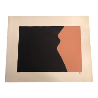 Black & Dark Peach Minimalist Hand-Painted Serigraph 4/34 by Geoffrey Graham For Sale