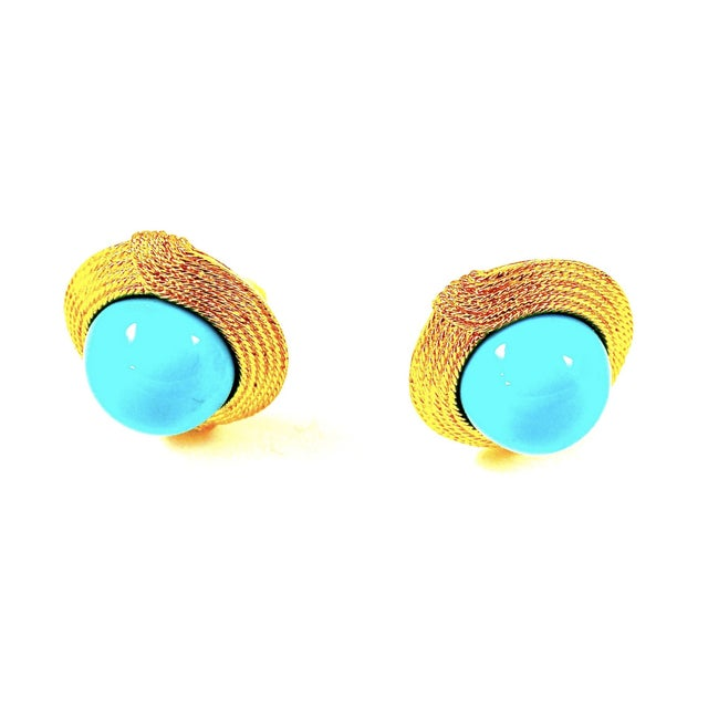 Contemporary Ciner Cabochon Turquoise Earrings For Sale - Image 3 of 4