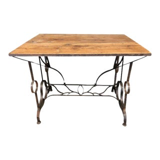 Antique Wood and Iron Writing Desk