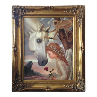 """Original Oil Painting """"Girl With Unicorn"""" by Ralph Wolfe Cowan For Sale"""