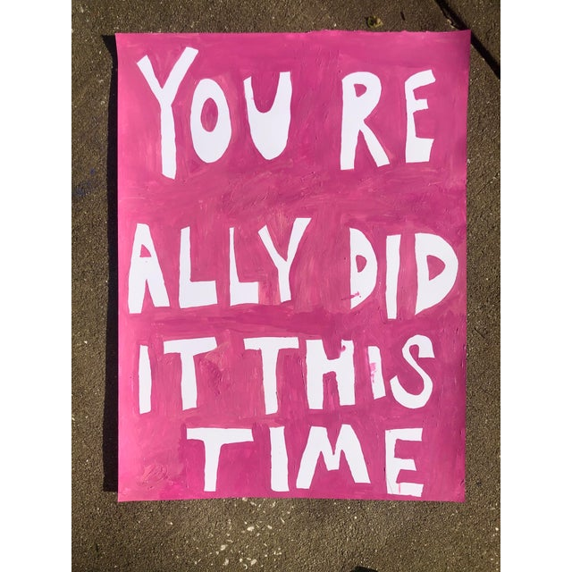 Virginia Chamlee You Really Did It This Time Pink Painting by Virginia Chamlee For Sale - Image 4 of 4