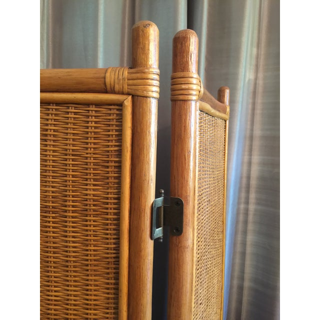 Asian Vintage Rattan Bamboo 3 Panel Folding Screen Room Divider For Sale - Image 3 of 10