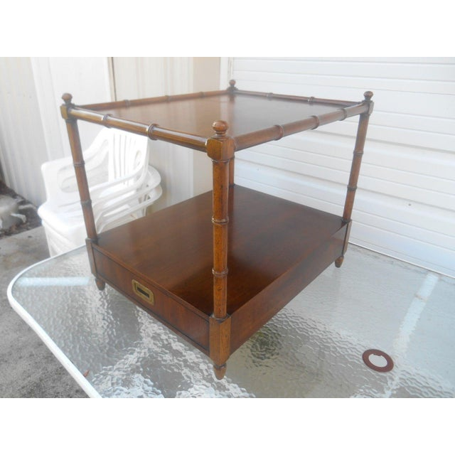 Asian Henredon Asian Campaign Style Faux Bamboo End Table For Sale - Image 3 of 6