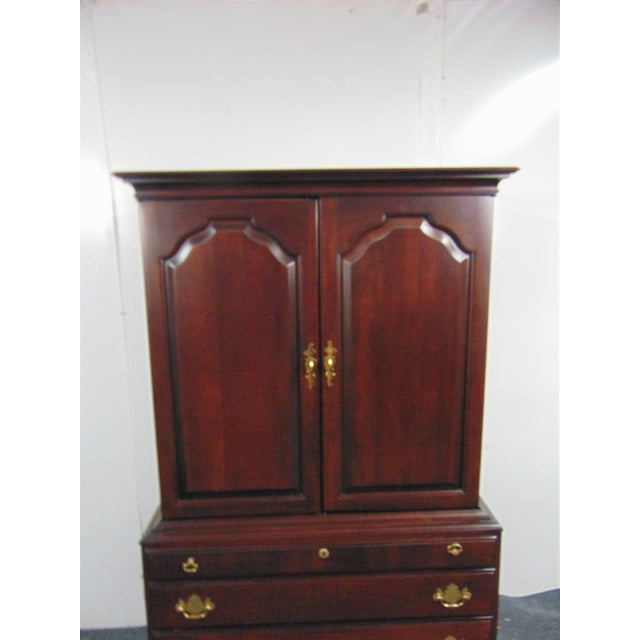 Durham Furniture Cherry Chippendale Linen Press For Sale - Image 4 of 11