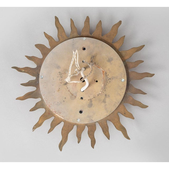 Neoclassical Sun Burst Gilded Bronze Ceiling Fixture For Sale - Image 3 of 5