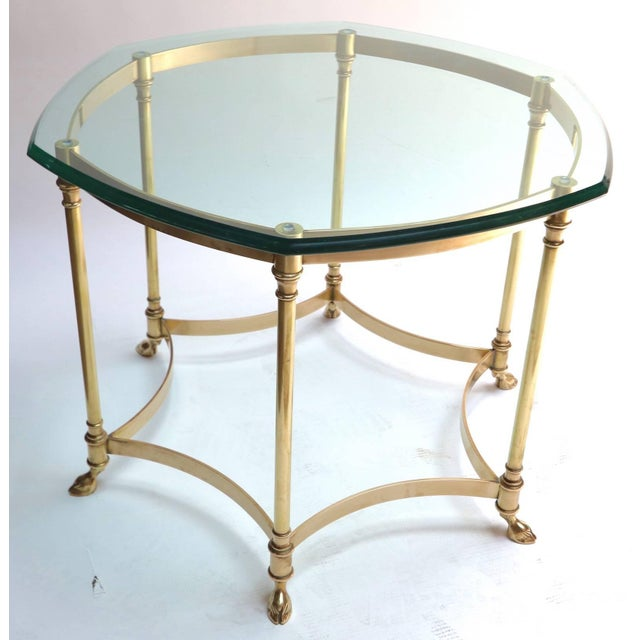 Gold Hexagonal Brass Side Table With Glass Top and Goat Feet For Sale - Image 8 of 10