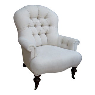 Tufted Arm Chair, English Traditional For Sale