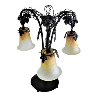 1990s E.Brandt Grape Designs Black Wrought Iron Lamp with Art Glass Shades For Sale