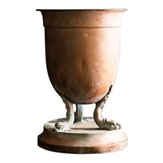 Copper Urn With Fish Motif Base For Sale