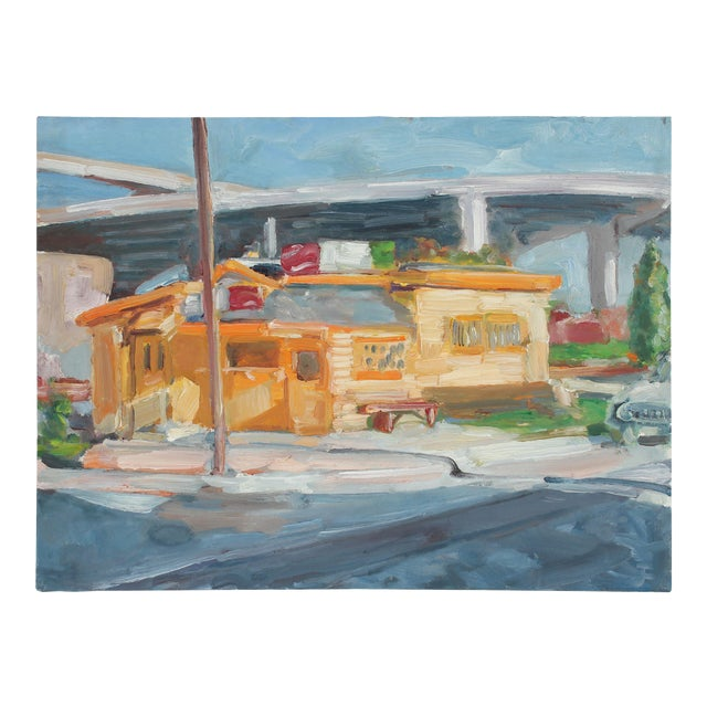 """""""Walt's Diner"""" Bay Area Cityscape Oil Painting, 1989 For Sale"""