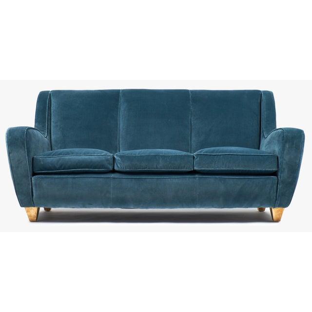Metal Mid-Century Italian Poltrona Frau Velvet Sofa For Sale - Image 7 of 12
