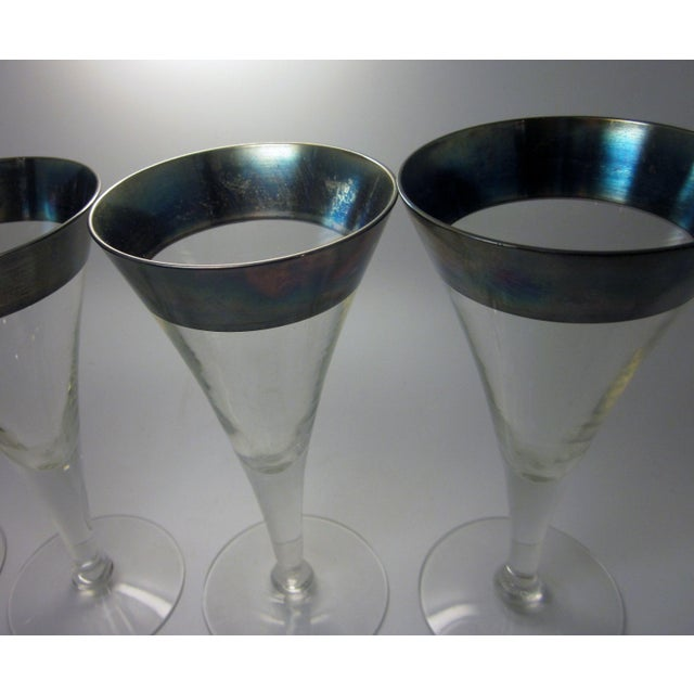 Transparent Vintage Mid Century Modern Dorothy Thorpe Style Sterling Silver Rimmed Triangle Fluted Wine Martini Cocktail Stemware - Set of 8 For Sale - Image 8 of 10