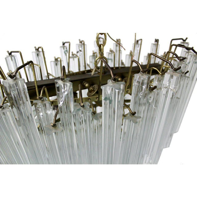 Transparent Camer Mid-Century Modern Murano Chandelier Glass Prisms Light Fixture For Sale - Image 8 of 9