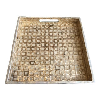 Tozai Home Small Gold Mosaic Square Tray For Sale