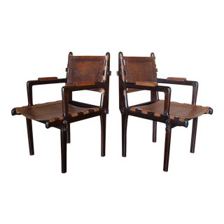 Mid Century Tooled Leather Angel Pazmino Style Vintage Campaign Chairs Armchairs - a Pair