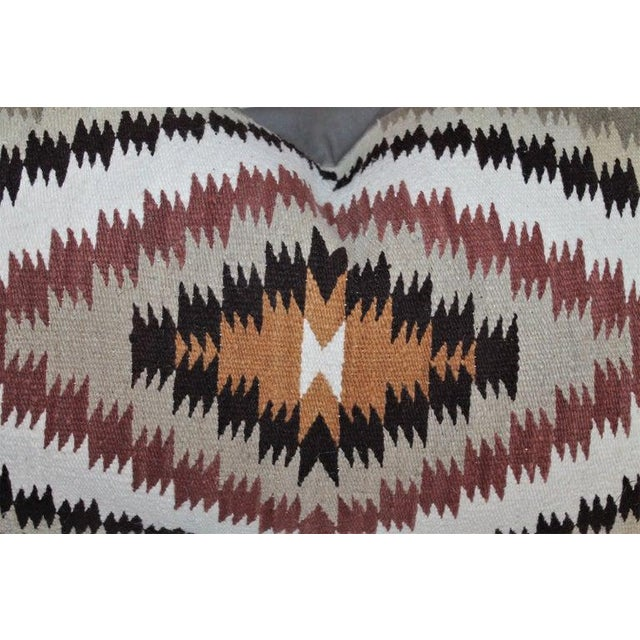 Cotton Navajo Indian Weaving Saddle Blanket Pillows - Set of 2 For Sale - Image 7 of 9