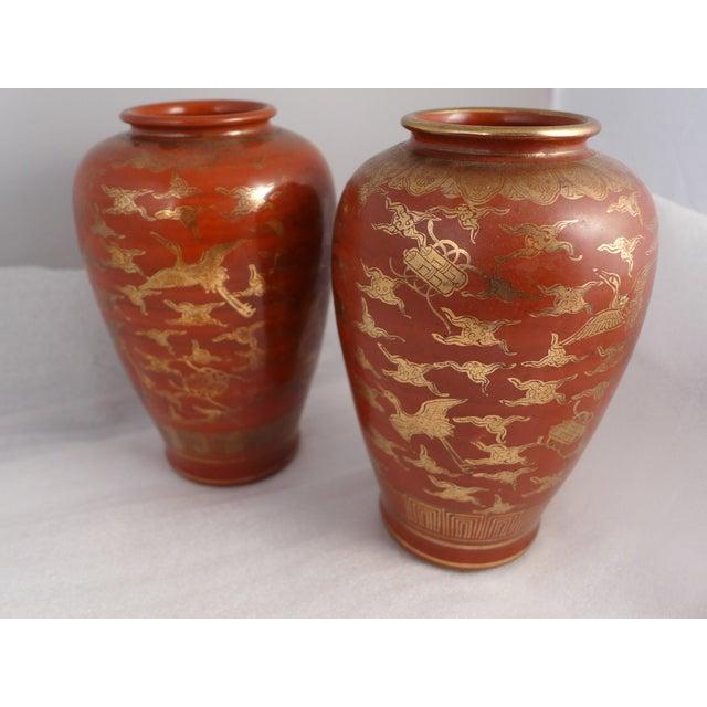 Japanese Kutani Eiraku Red Gold Kinrande Porcelain Vases - aPair For Sale - Image 9 of 9