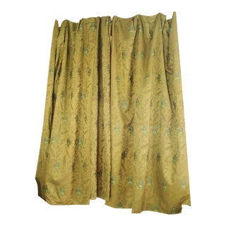 3 Curtains Antique French Wool & Silk Challis 1860's Museum Quality Textiles For Sale