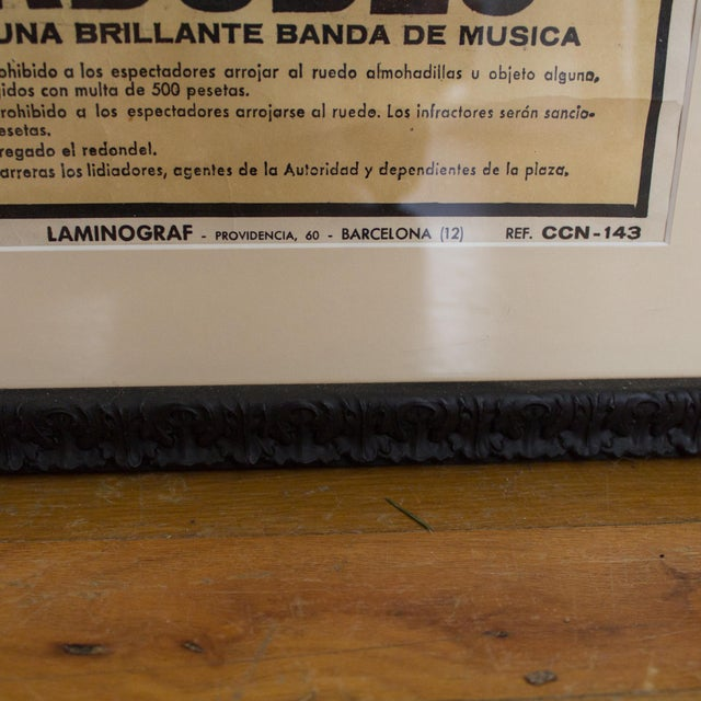 Vintage 1970's Bullfighting Poster Framed in Acrylic From Spain For Sale - Image 10 of 11
