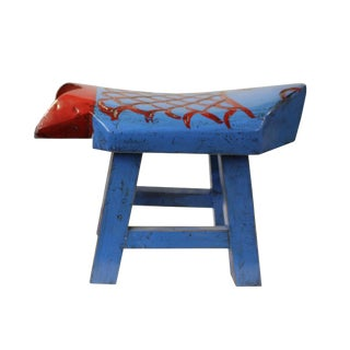 Oriental Handmade Rustic Distressed Blue Fish Shape Small Wood Stool