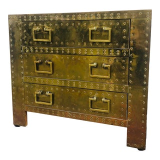 Sarreid Brass Chest of Drawers For Sale