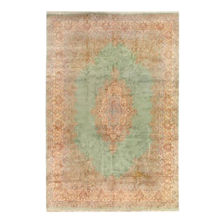 1940s Pasargad Light Green Fine Persian Hand Knotted Kerman Rug- 11′9″ × 17′1″ For Sale