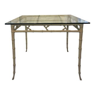 Mid-Century Modern Cast Aluminum Faux Bamboo Table With Glass Top