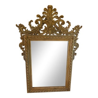 Antique Italian Carved Giltwood Mirror For Sale