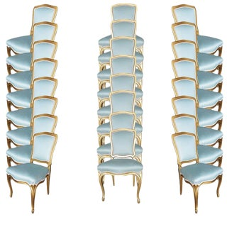 Louis XVI-Style Hollywood Regency Side Chairs, Circa 1950, Set of 24 For Sale