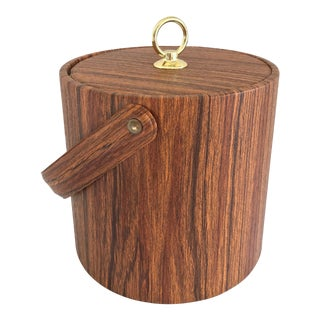 Vintage Mid-Century Modern Faux Wood Ice Bucket For Sale