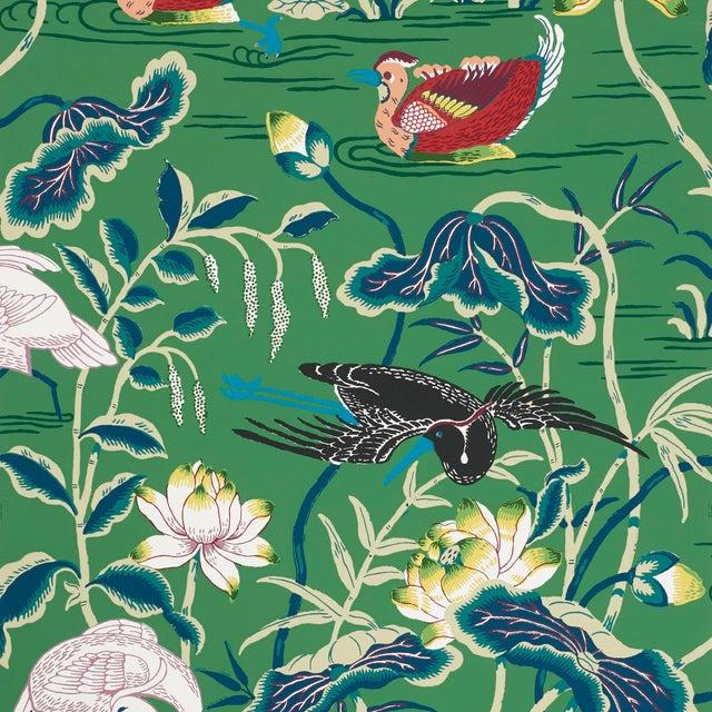 Sample - Schumacher Lotus Garden Wallpaper in Jade For Sale