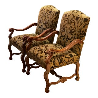 1990s Vintage Taylor King Grand William and Mary Collection Arm Chairs- A Pair For Sale