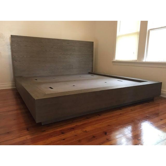 2010s Van Thiels for Restoration Hardware Oak King Machinto Bed For Sale - Image 5 of 11