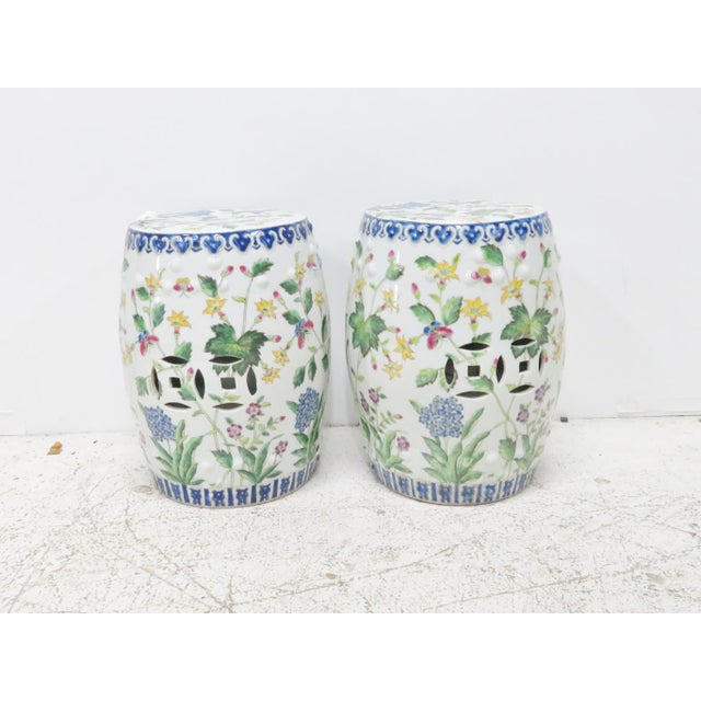 Chinese Floral Garden Stools - A Pair For Sale - Image 5 of 5