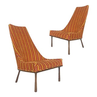 Sleek Sculptural High Back Chairs 1960s Mid-Century Modern Velvet and Walnut For Sale