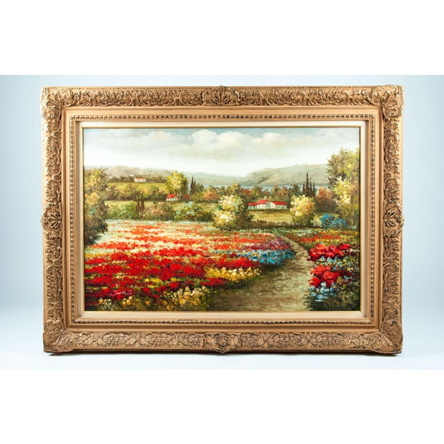Mid-20th century wood framed oil painting. The painting is in excellent condition, signed on the lower left corner by the...
